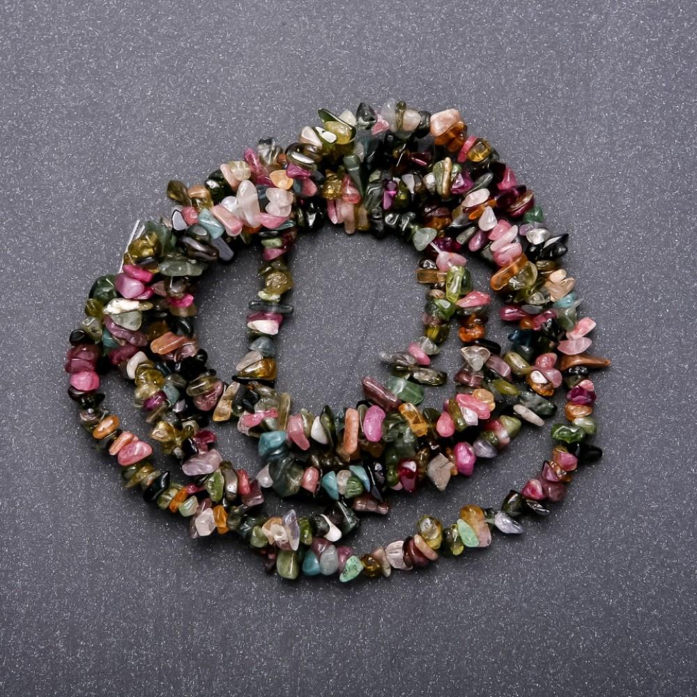 Бусины из натурального камня Турмалин арбузный, диаметр 5мм, длина 38см