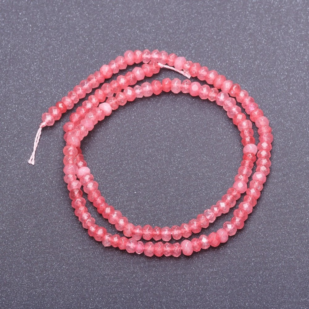 Бусины из натурального камня Турмалин на нитке светло розовый граненый рондель, диаметр 4,5х3мм, длина 38см