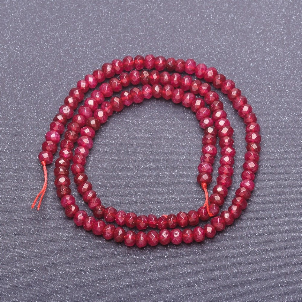 Бусины из натурального камня Турмалин на нитке темно малиновый полупрозрачный граненый рондель, диаметр 4х3мм, длина 38см