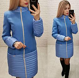 Пальто кашемировое+плащевка, модель 137, цвет - голубой