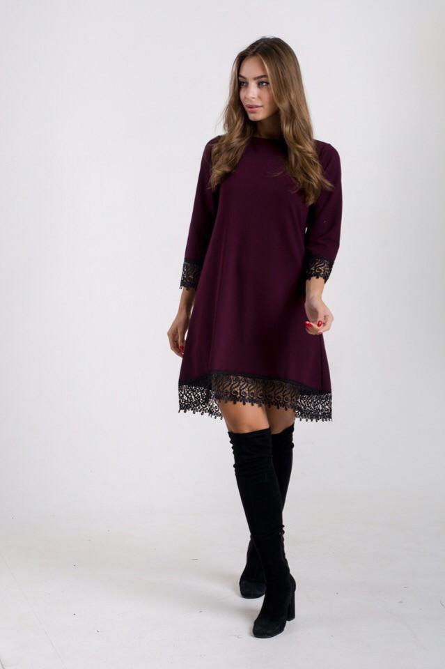 Платье из креп-дайвинга с кружевом 65py2111