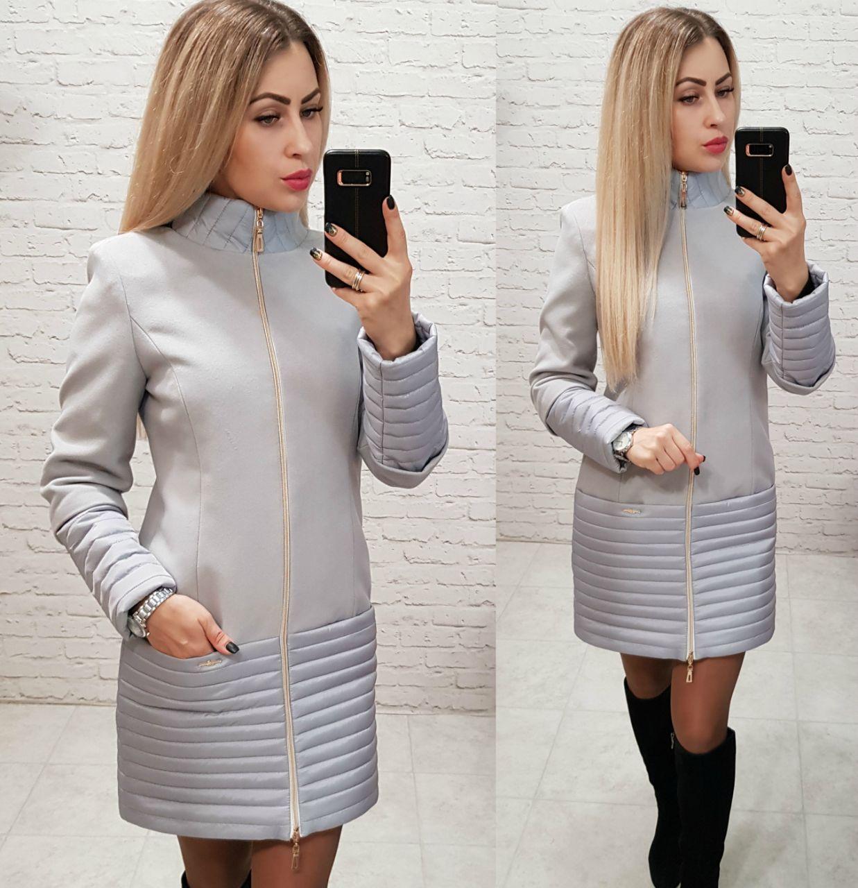 Пальто кашемировое+плащевка, модель 137, цвет - серый