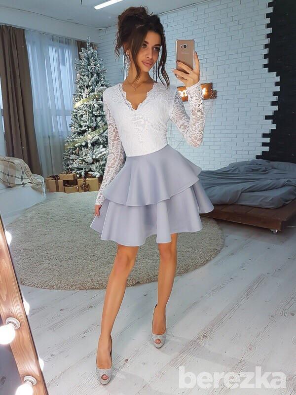 Платье из двойной пышной юбки и гипюра 66py2131