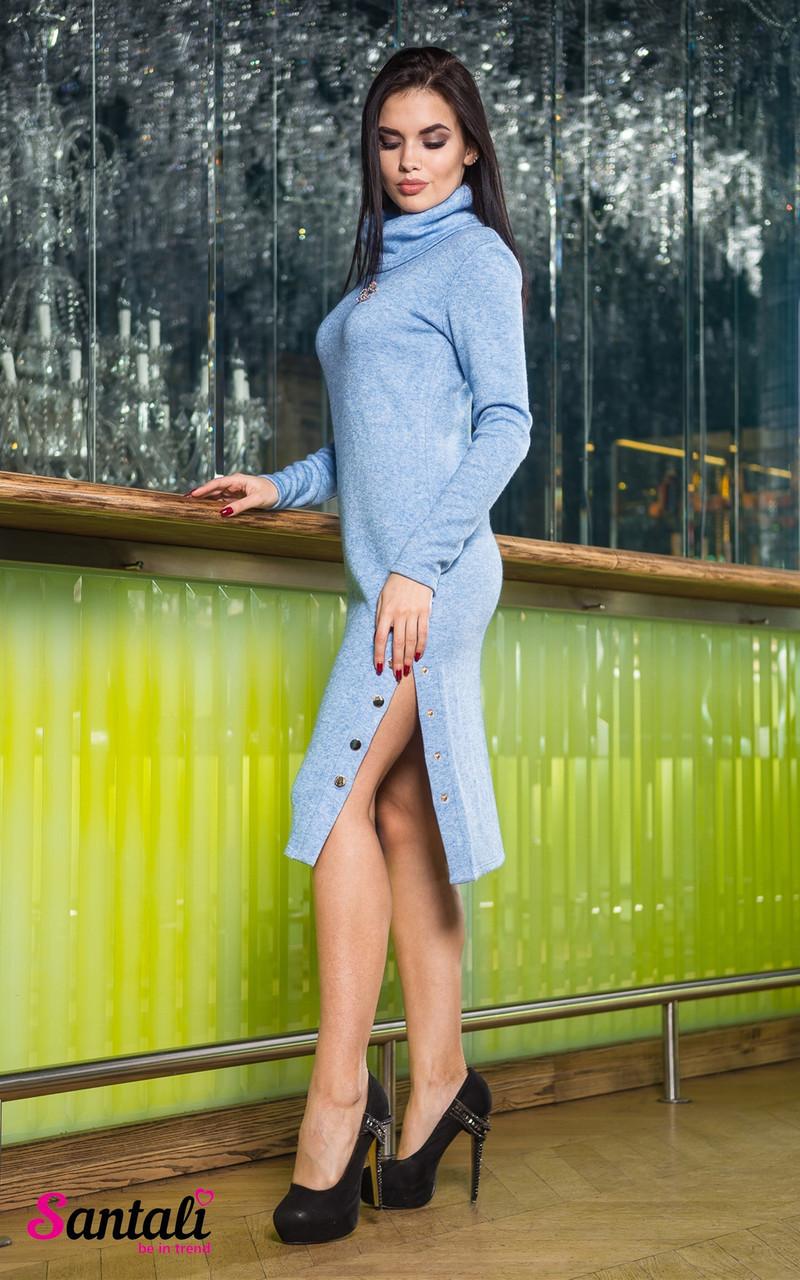 Вязаное платье с высокой горловиной и люверсами 45py2133
