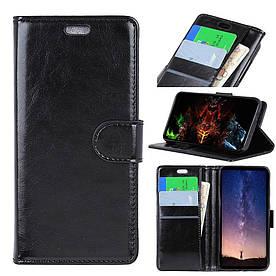 Чехол книжка для Samsung Galaxy A6S G6200 боковой с отсеком для визиток, Гладкая кожа, черный