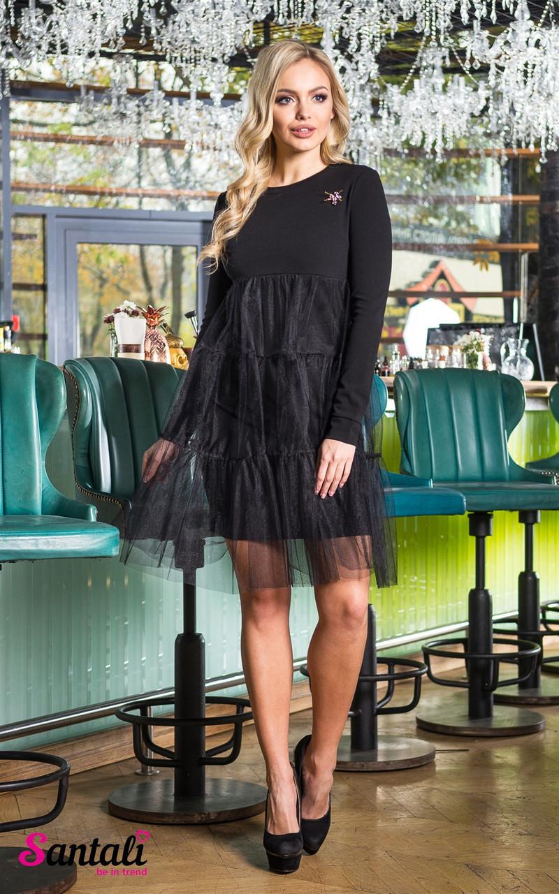 Платье с сеткой сверху и оборками 45py2135