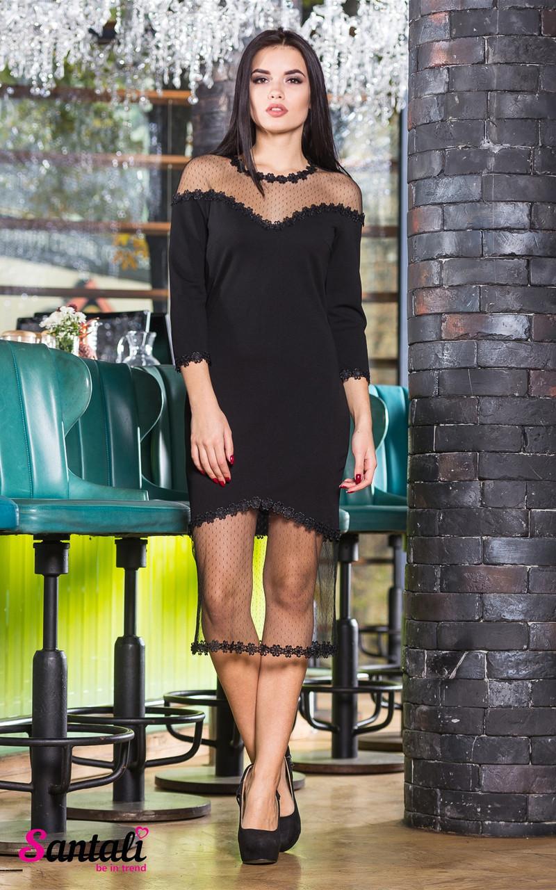 Платье с вставками сетки и декором 45py2141