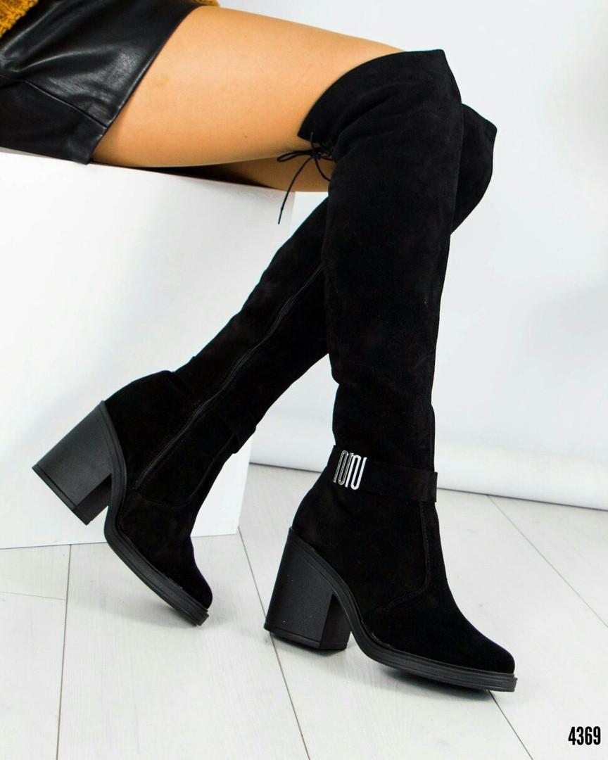 ab95ebf7187e Ботфорты женские на толстом каблуке черные