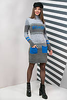 Вязаное женское платье Мулине, электрик, фото 1