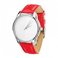 """Часы """"Минимализм"""" (ремешок маково - красный, серебро) + дополнительный ремешок"""