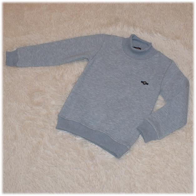 Кофта - гольф стильная на мальчика серая с начесом Турция  размер 110 116 122 128