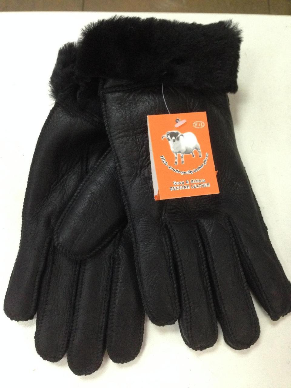 Черные перчатки мужские из натуральной овчины