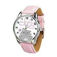 """Часы ZIZ с обратным ходом """"Котики не опаздывают"""" (ремешок пудрово - розовый, серебро) + дополнительный ремешок"""