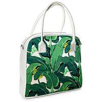 Женская сумочка Oxford Экзотические листья белая (OXF_TRO033_WH)