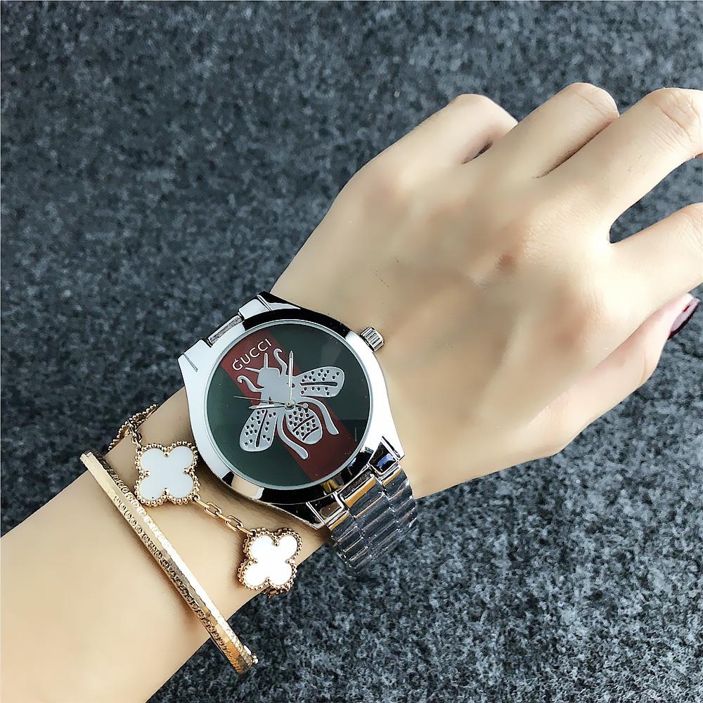ce201c97 Женские наручные часы Gucci 6239 Silver-Green-Red, Часовая сталь - Интернет-