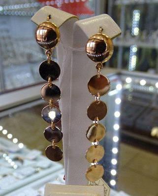 Золотые серьги подвески - монетки