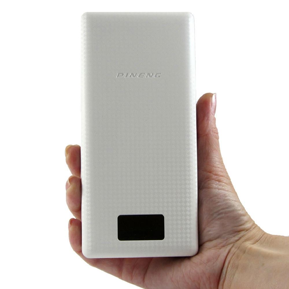 Внешний аккумулятор на 20000 мАч на 2 USB с дисплеем для цифровой техники Power Bank Pineng PN-969 Белый