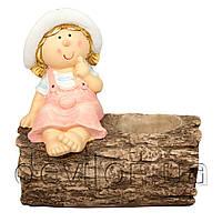 Садовая декорация из керамики - горшок - Девочка на бревне (820047-1)