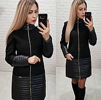 Пальто кашемировое+плащевка, модель 137, цвет - черный
