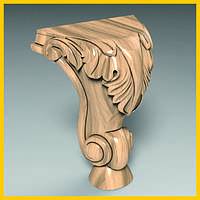 Ножка для тумбочки резная из дерева. Опора для шкафа, кровати, столика, комода. Ясень. 150 мм топ