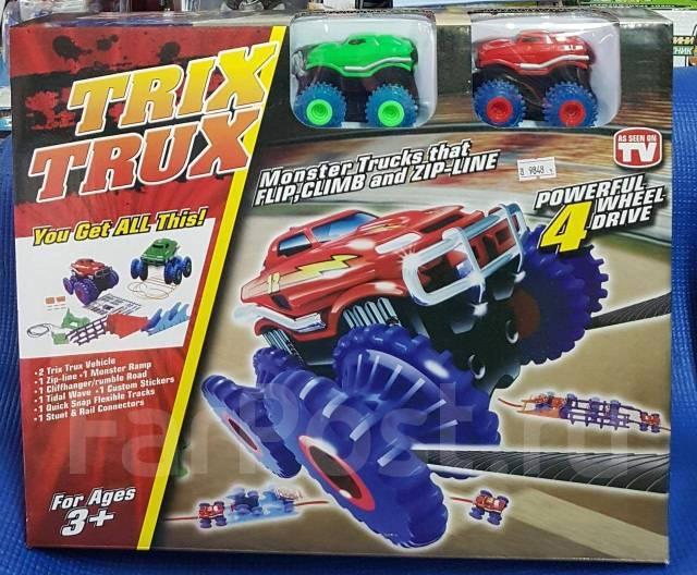 Набор Trix Trux на 2 машинки Трикс Тракс монстр-траки машинка вездеход ездит по веревкам монстер трек подарок