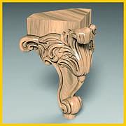Ножка в стиле барокко для деревянного шкафа, кресла. Мебельная опора кабриоль резная. 140 мм топ
