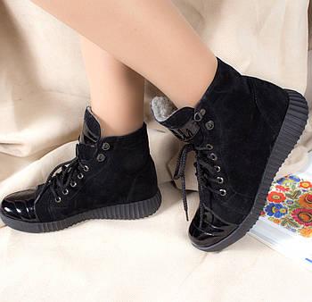 Жіночі черевики шкіряні на хутрі Губка з натуральної замші та шкіри 36-40р. 01047