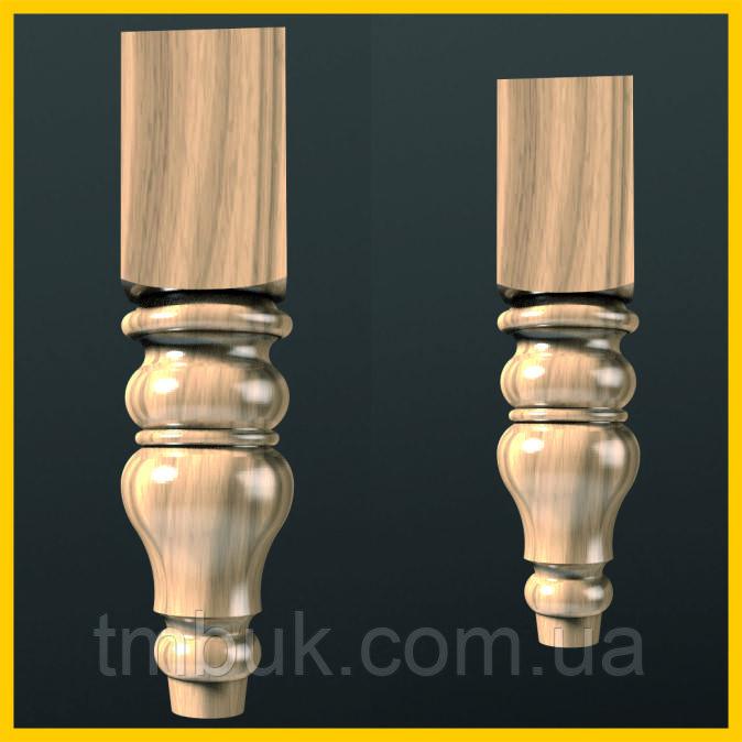Точеная из дерева ножка круглая с квадратным основанием. Для мягкой мебели, тумб и кресел. 210 мм