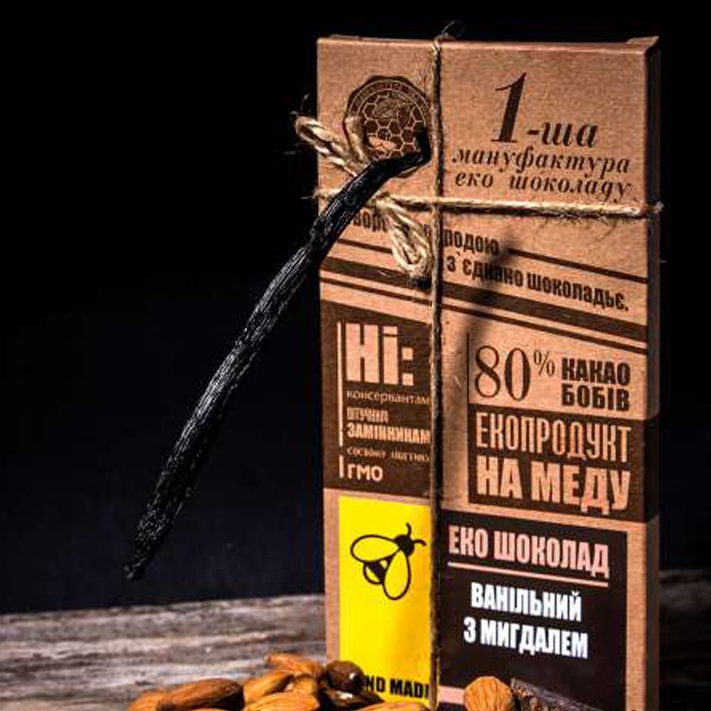 Шоколад черный с Миндалем, 100 грамм - Первая Мануфактура Эко Шоколада