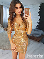 Ультрамодное женское платье (пайетки, верх на запах, рукава 2/4, декольте, длина мини) РАЗНЫЕ ЦВЕТА!, фото 1