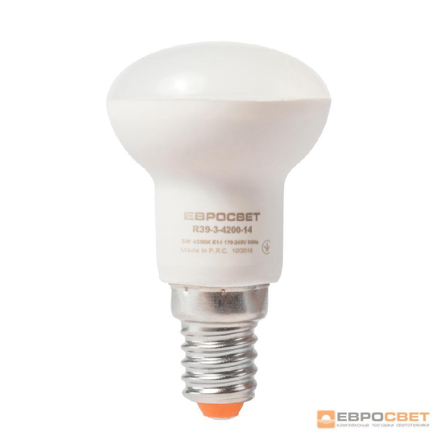 Лампа светодиодная ЕВРОСВЕТ 3Вт 4200К R39-3-4200-14 E14