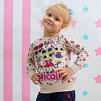 Кофта реглан с начесом Лол для девочки розовая размер 1-2 лет