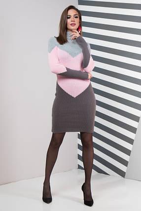Женское платье повседневное Эльза (серый, розовый, графит), фото 2