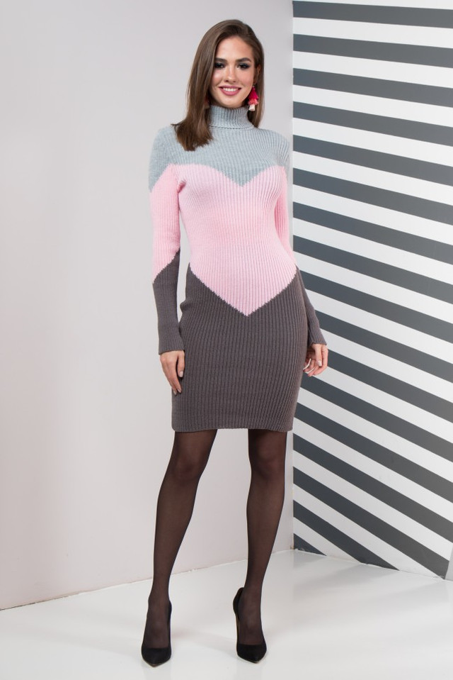 Женское платье повседневное Эльза (серый, розовый, графит)