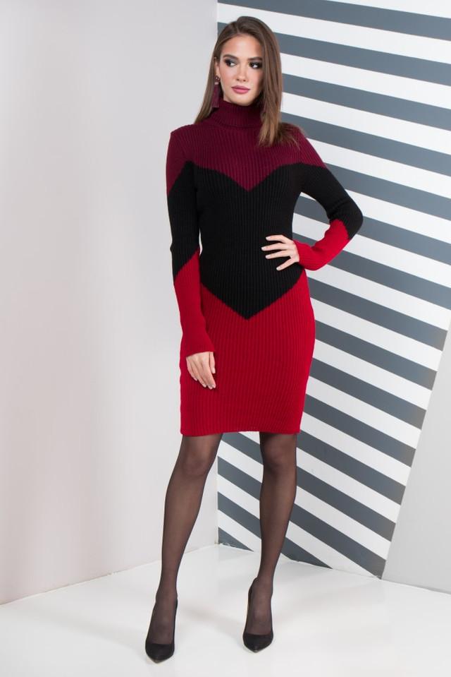 Женское платье повседневное Эльза (марсала, черный, вишня)