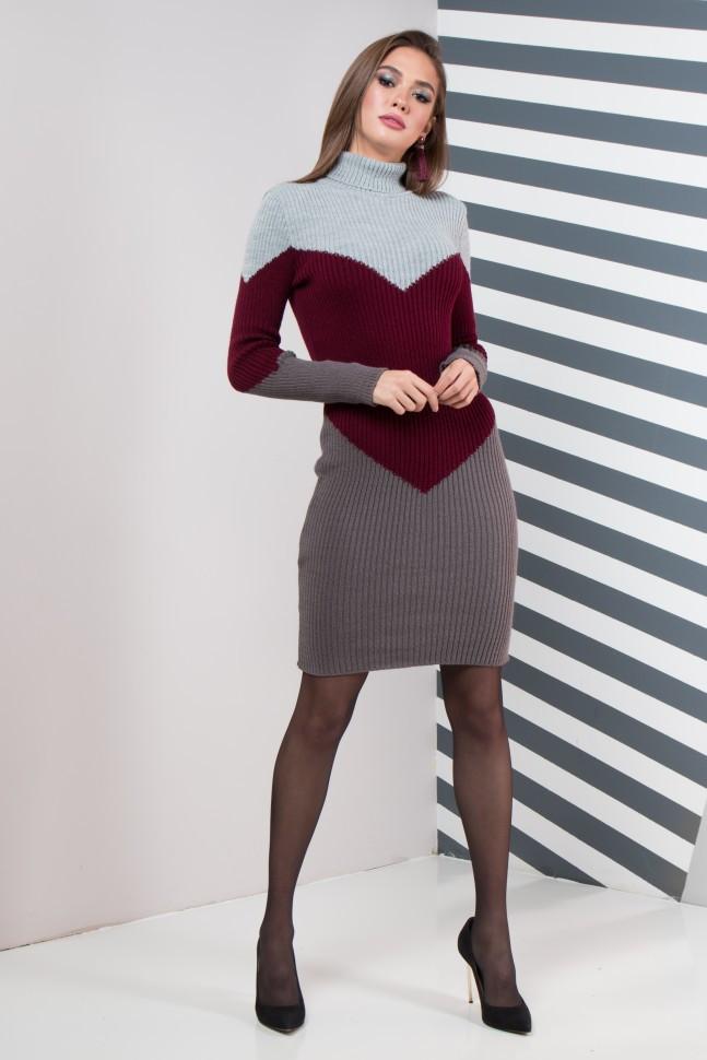 Женское платье повседневное Эльза (серый, марсала, графит)