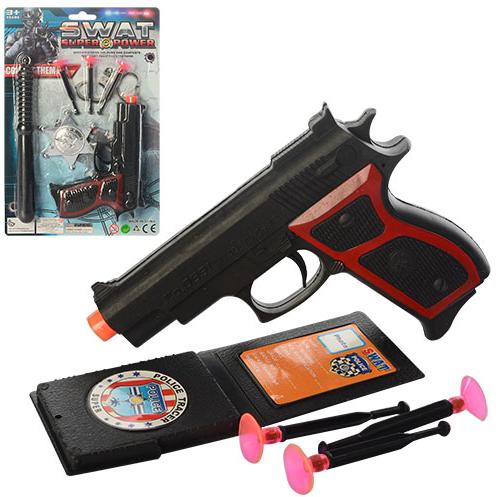 Набір поліцейського A 001 пістолет, кулі - присоски 3 шт, 2 в 1, на аркуші, 19-28 см