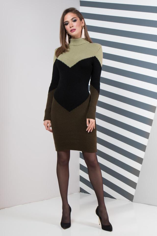 Женское платье повседневное Эльза (олива светлая, черный, олива)