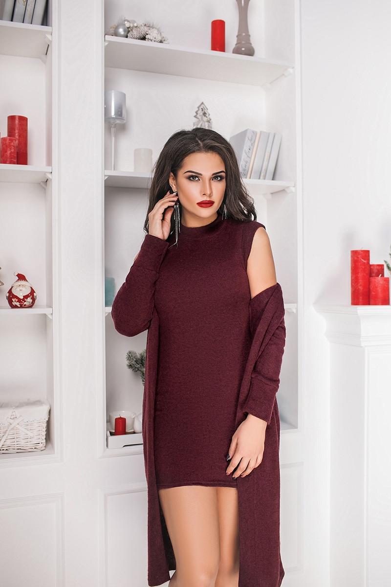 a38d32725d4669f Костюм: платье с кардиганом. Марсала, 5 цветов. Р-ры: 48,50,52,54 ...