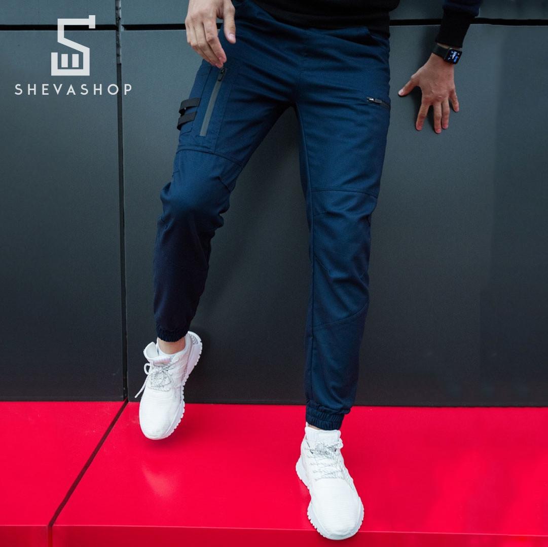 Теплые брюки карго мужские Pobedov Papin Brodyaga синие L, фото 1