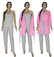 Комплект пеньюар женский домашний с теплым халатом 18306 Mindal Soft Grey&Pink, р.р.42-56, фото 1