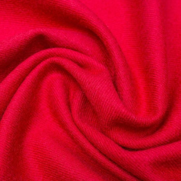 Красный палантин  шерстяной теплый с бахромой
