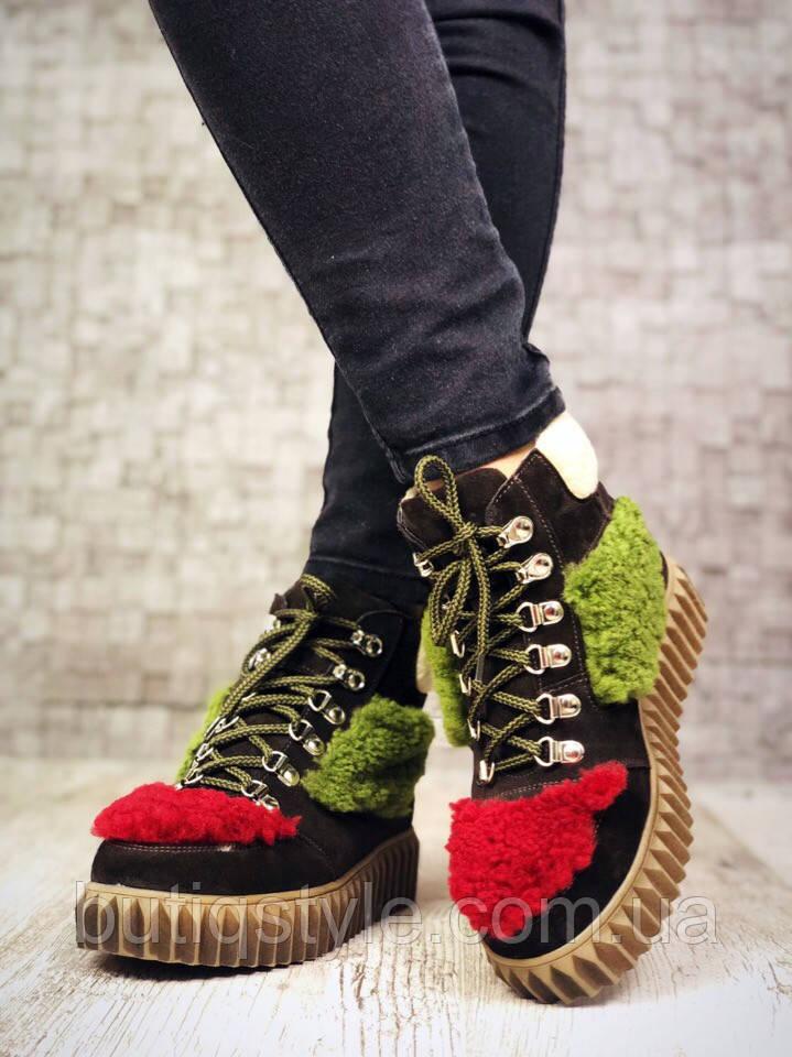 36 розмір! Зимові черевички в стилі J!mmy Ch*o темно коричневий+червоний+зелений натуральна замш