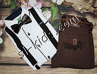 Комплект Подтяжки + Бабочка рост 86-140 см (шоколад)