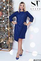 Стильное платье с гипюровой асимметричной вставкой с 50 по 56 размер, фото 1