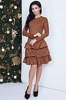 Красивое платье из замши 41867 (42–46р) в расцветках, фото 1