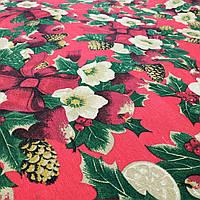 Новогодняя ткань Рождественский букет бордо 280 см (030701)