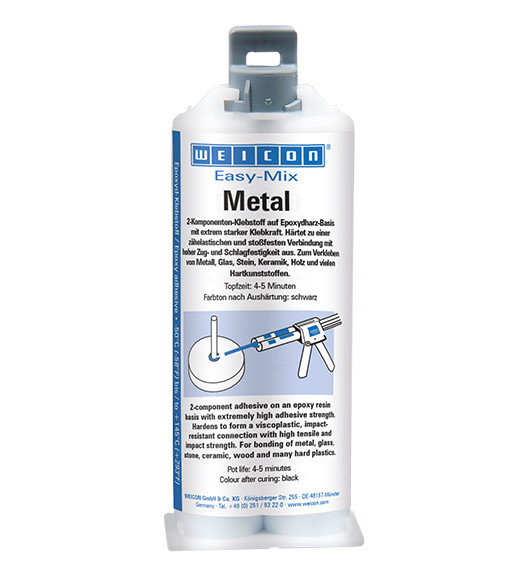 Эпоксидный клей - WEICON Easy-Mix Metal (50мл) с системой смешивания и дозирования.