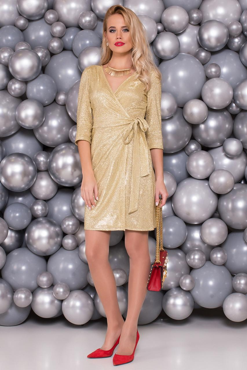 a1b44391a3b Блестящее золотое платье с запахом из люрекса - Интернет-магазин одежды и  аксессуаров