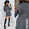 Стильное женское платье (букле, длина мини, длинные рукава, карманы, контрастная отделка)
